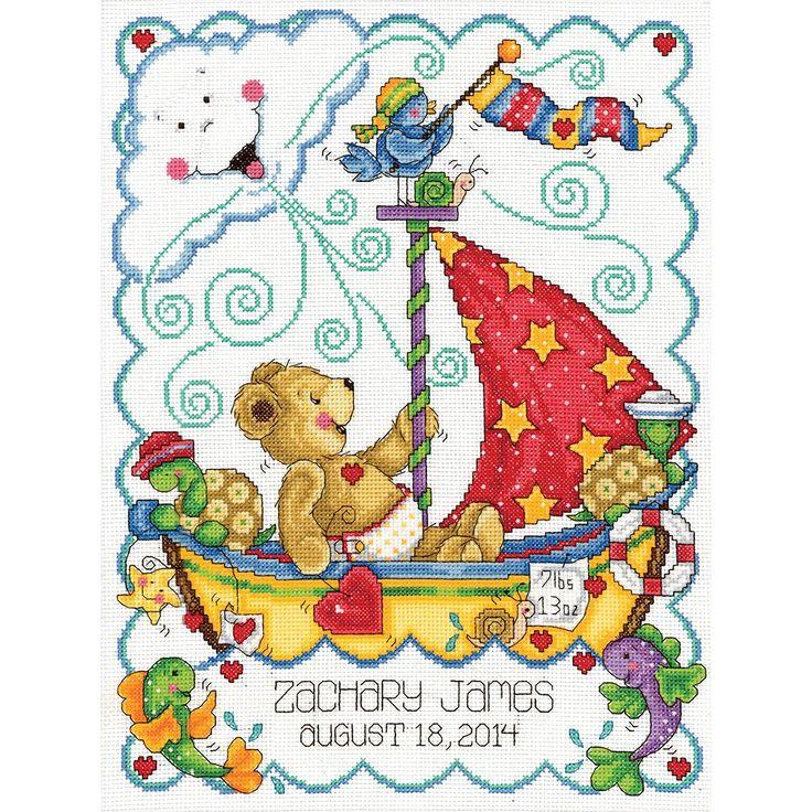 Tobin Sail Away Baby Counted Cross Stitch Kit, 11-Inch x 14-Inch $17.68
