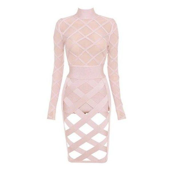 Jalena Cutout Mesh Pink Bandage Dress (£105) ❤ liked on Polyvore featuring dresses, pink dress, cut out dresses, mesh dress, mesh cut-out dresses and mesh bandage dress