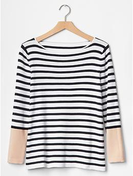 Stripe boatneck A-line sweater   Gap