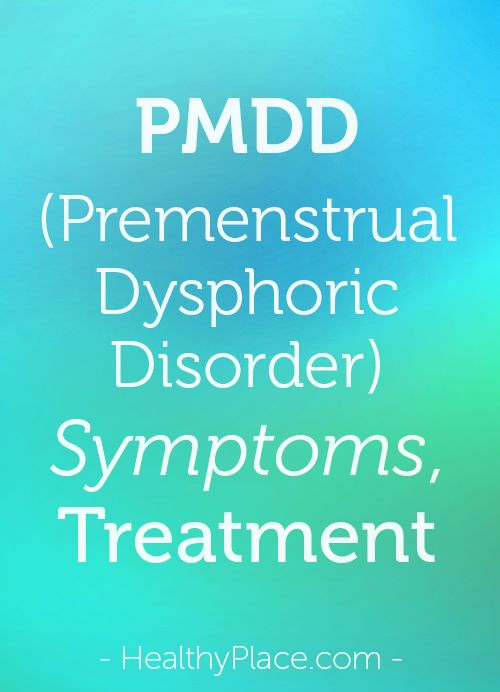 Premenstrual dysphoric disorder (PMDD) can cause severe impairment each month. Learn about PMDD symptoms and PMDD treatments to feel better.   www.HealthyPlace.com