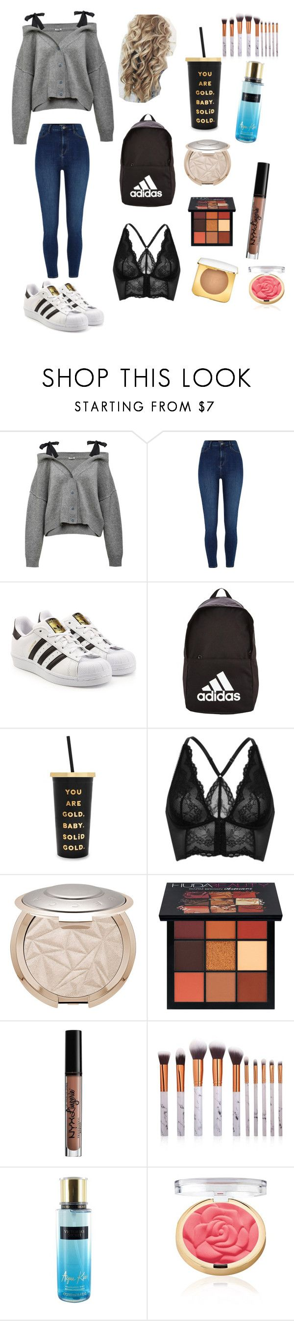"""Another aesthetic i aspire to be"" by iamnoodles ❤ liked on Polyvore featuring adidas Originals, adidas, ban.do, Gossard, Huda Beauty, Charlotte Russe and Victoria's Secret"