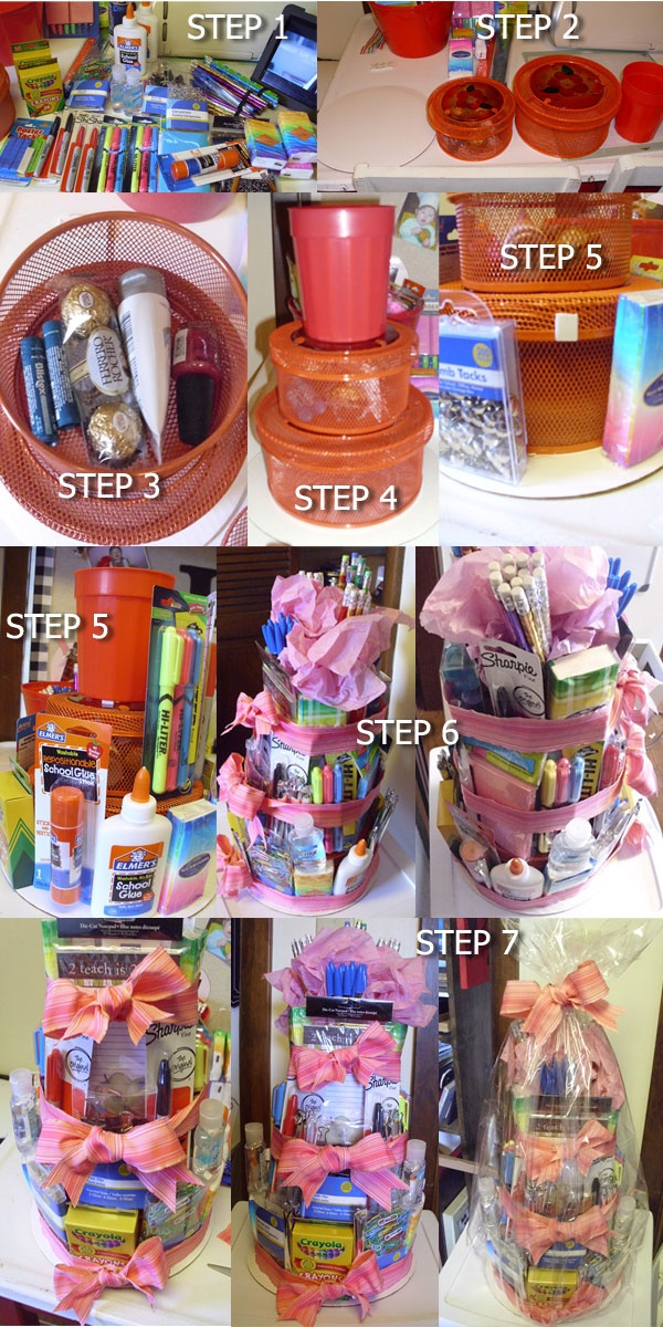 "Teacher Supply Cake I made for kids teachers. Step 1: lay out all school items. Step 2: lay out items for tiers - I used a cake board, 2 wire baskets with lids & plastic cup. Step 3: Put treats in middle basket for teacher. Step 4: Stack tiers. Step 5:  figure out where supplies will be placed on the ""cake"". Once placed - use small foam square that has sticky stuff on the front & back & attach the items. Step 6: Tie ribbon around the 3 tiers. Step 7: Put in cellophane bag & tie with ribbon."