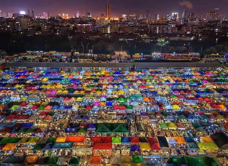 'Market Maze' An aerial view over the Rod Fai night markets in Bangkok Thailand