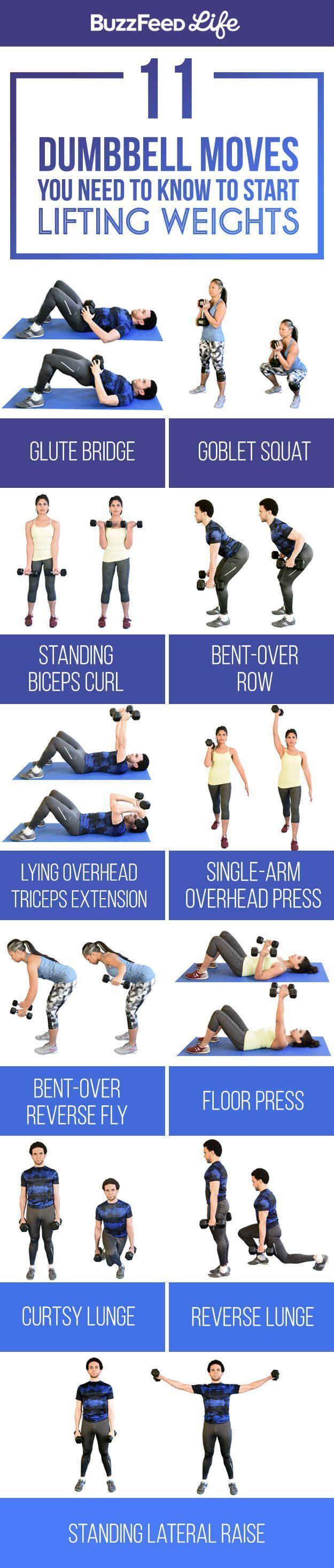 11 Dumbbell Moves You Should Know To Start Lifting Weights.  find more relevant stuff: victoriajohnson.wordpress.com
