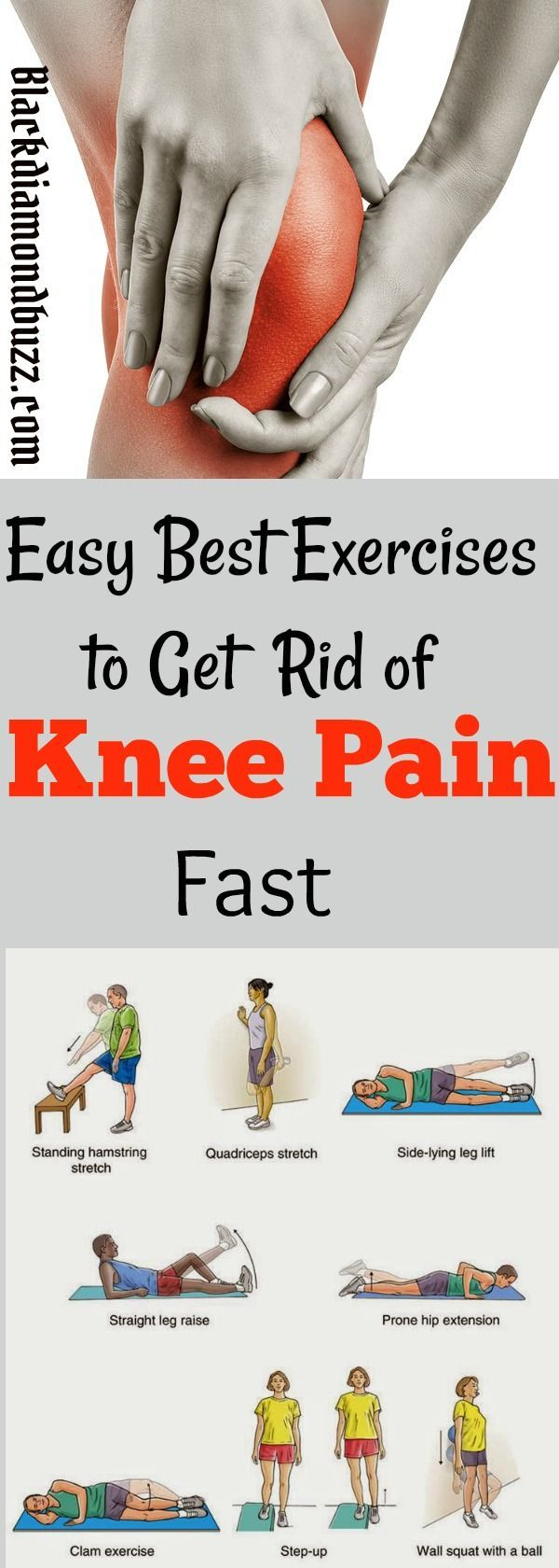 Easy Best Exercises to Get Rid of Knee Pain Fast.These workouts are proven to strengthen your knees and you will get total relief from arthritis, patellar tendonitis, chondromalacia patellae and lower back pain.    Share if you like it !