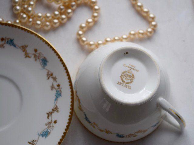 """Minton Porcelain """"Champagne"""" Tea Cup & Saucer"""