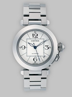 Cartier - Pasha C de Cartier Stainless Steel Watch on Bracelet $5,900   #timepiece #watch #cartier