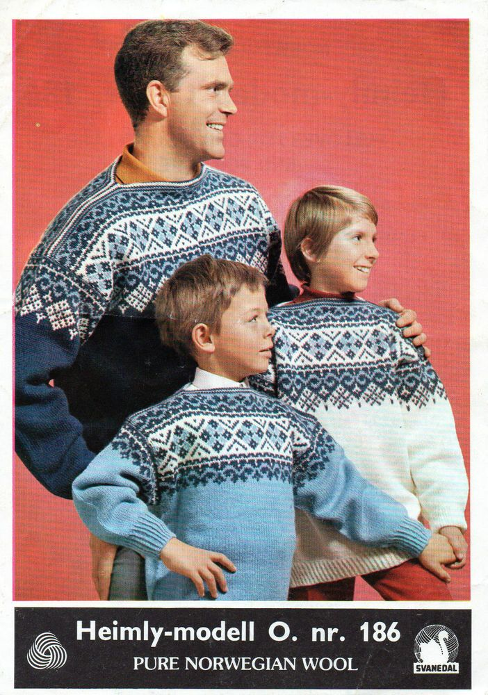 ~Vintage Norwegian Pattern For Adult & Child Size Scandinavian Sweaters To Knit~