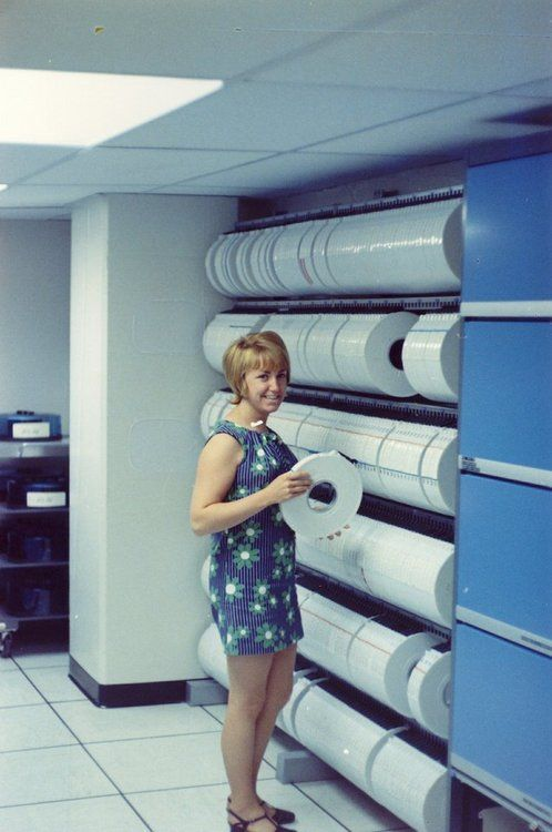 """Everyone had a """"tape library"""" and a tape librarian ... Here, Bell Labs, 1970."""