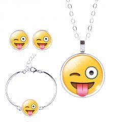 Göz Kırpma Emoji Bileklik ( Bangle ), Küpe ve Kolye Seti