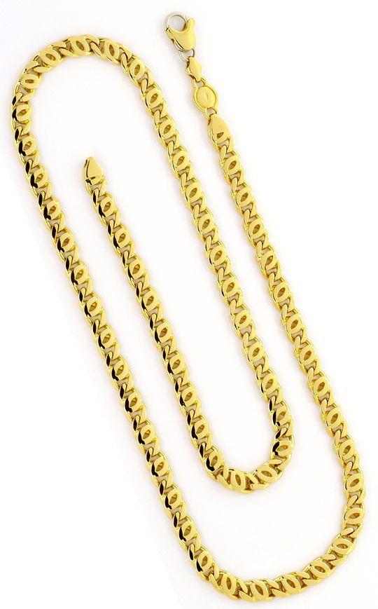 Foto 3, Pfauenauge-Goldkette Tigerauge-Goldkette massiv 18K/750, K2372
