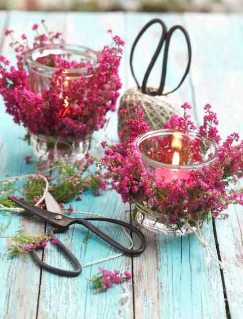 Heidekraut versüßt einem nicht nur mit leuchtenden Blüten den Herbst, sondern lässt sich auch zu toller Deko arrangieren.
