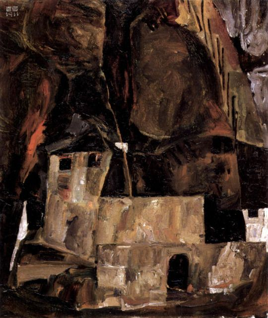 The Wall and the House under the hill with a Fence, Egon Schiele, 1911