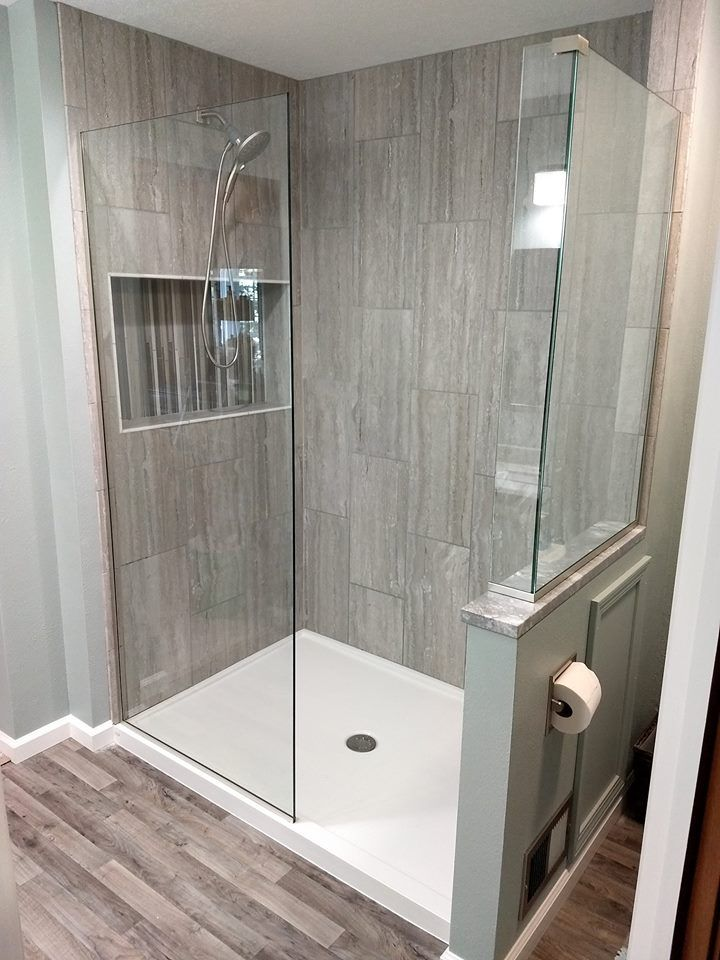 Gorgeous Open Entry Shower With 3 8 Clear Glass And Spot Proof Diamon Fusion Protection Bathroom Renos Shower Design Home Remodeling