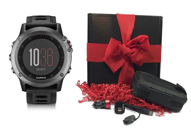 Garmin fenix 3 Black Gift Box Bundle with Multi-Sport GPS Fitness Watch - Gray, PlayBetter USB Car and Wall Adapter, USB Charging Cable and GPS Carrying Case , Red Bow and Crinkle Paper -- Details can be found by clicking on the image.