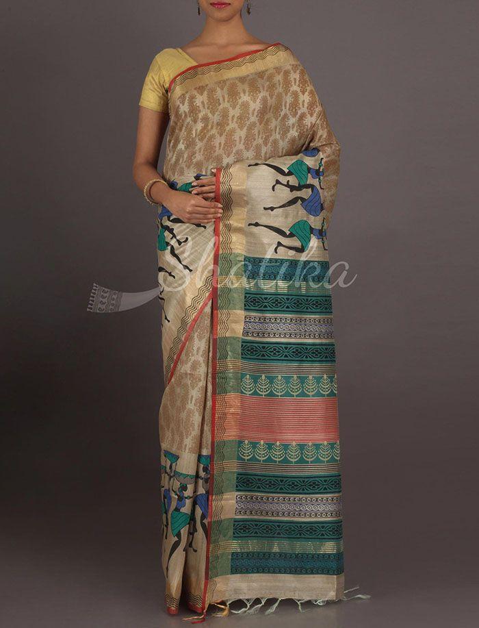 Priya Dancing Tribes Border Pure #GhichaSilkSaree