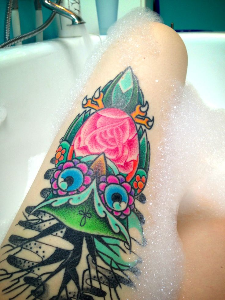Jewel colored owl tattoo. Made by Kjell, at Silent shout tattoo, Sweden.