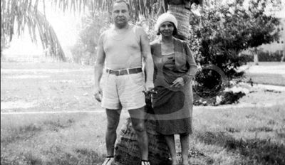 """Miami, FL. 1930- Joe """"The Boss"""" Masseria and his wife on vacation.  Also present but not in the picture was his son Joe Jr. and his underboss, Lucky Luciano."""