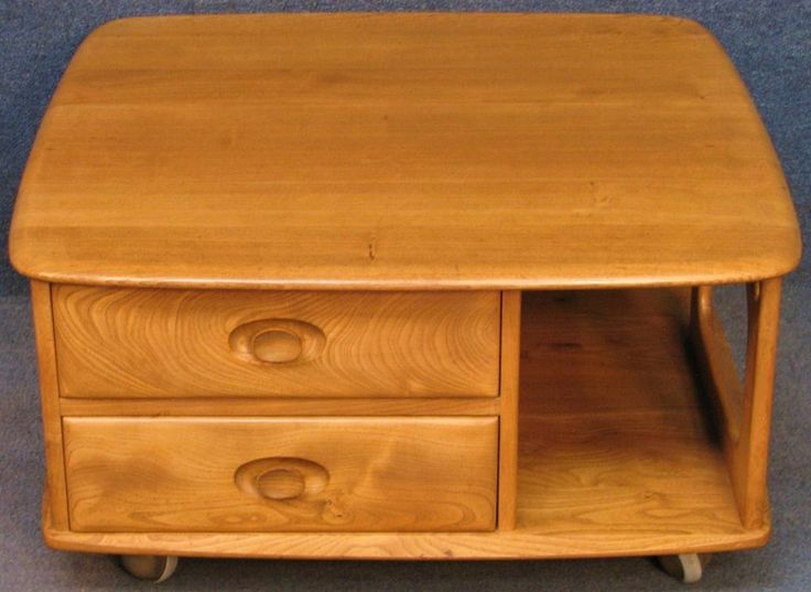 Ercol Solid Elm Windsor Pandora 735 2 Drawer Coffee Table In Light Finish #CoffeeTable