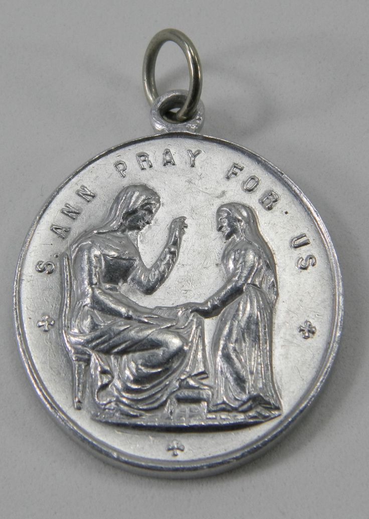 St. Ann Pray for Us Large Medal Made in France Holy Spirit Hearts of Mary, Jesus 18179 by QueeniesCollectibles on Etsy