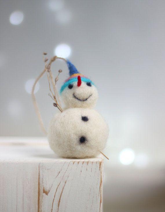 Needle Felt Snowman Ornament Little White by FeltArtByMariana