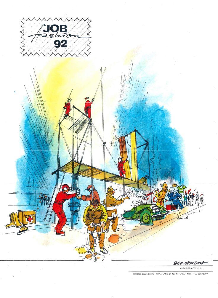 Jobfashion 1992, de 1e Europese beurs voor werkkleding. Ontwerp Ger Dorant, Design & Selling, Laren NH Nederland
