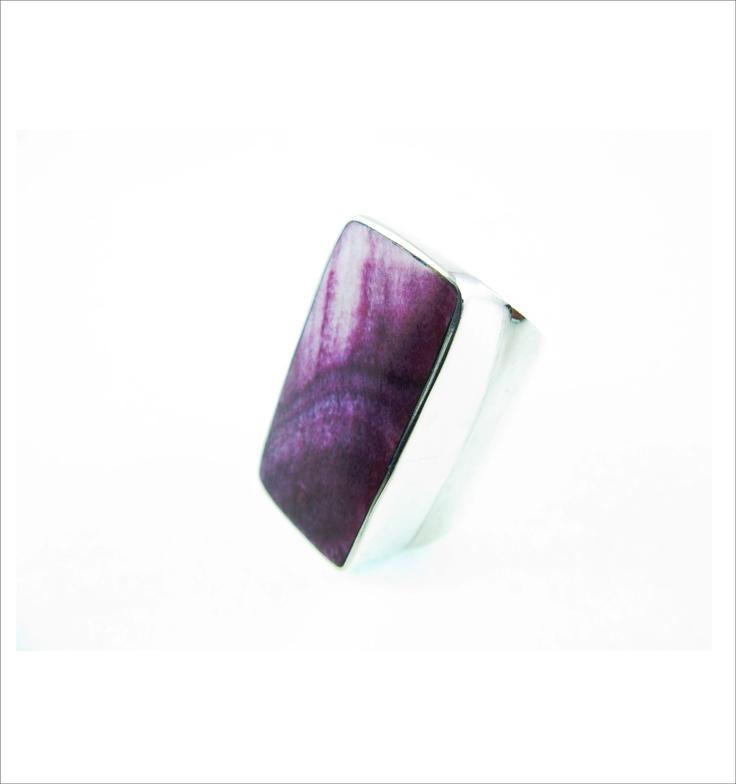 Anillo reversible echo a mano, en plata 950 , regulable, con incrustaciones de piedras semipreciosas