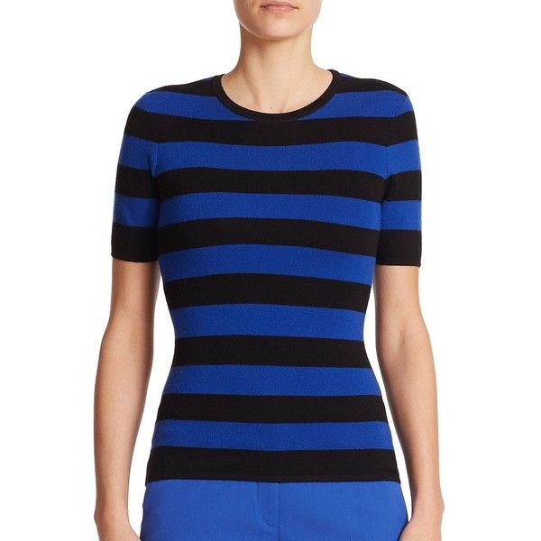 Michael Kors Collection Striped Knit Top ($170) ❤ liked on Polyvore featuring tops, blue knit top, crew neck tops, michael kors tops, blue top and blue striped top