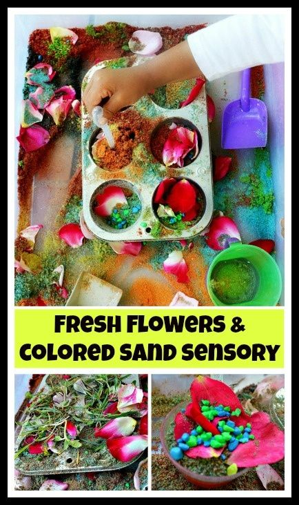 A easy to create fun and fragrant sensory activity with sand and fresh flowers. #sensoryactivities.