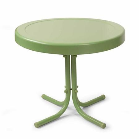 Patio Furniture Garden Table Outdoor Round Metal Green - Tables