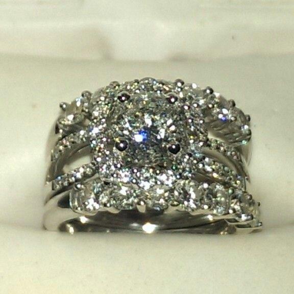 3 carat diamond engagement ring and wedding band set in 18k karat white gold
