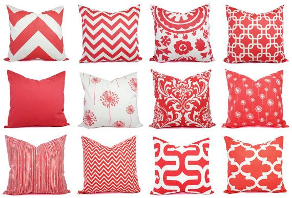 Two coral throw pillows in a damask print. These coral decorative throw pillows fit any size pillow insert from a 12 x 16 lumbar cover to a 26 x 26 euro sham and are 100% cotton. Corals provide a pop of color and go well with many different colors! For coordinating fabrics, look