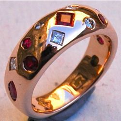 Stunning plush setting diamond and ruby ring - designed and hand-forged by Geoff!