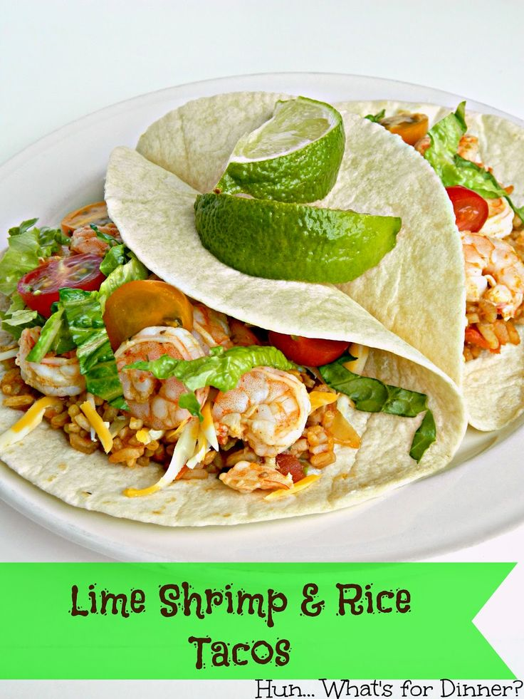 Lime Shrimp & Rice Tacos ~ Zesty lime-marinated shrimp is served with ...