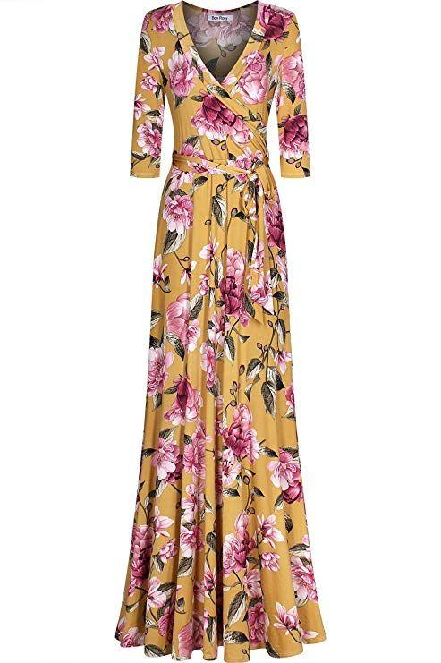 d50df057eeb Bon Rosy Women s 3 4 Sleeve Deep V-Neck Printed Maxi Faux Wrap Dress  Mustard M