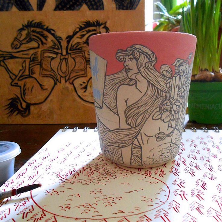 Mermaid mug will go into the kiln tomorrow ⛱
