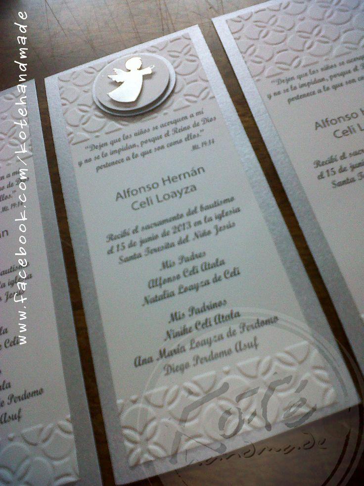 Tarjetas para recuerdo de bautizo.   Koté Handmade by Silvia Alvarez