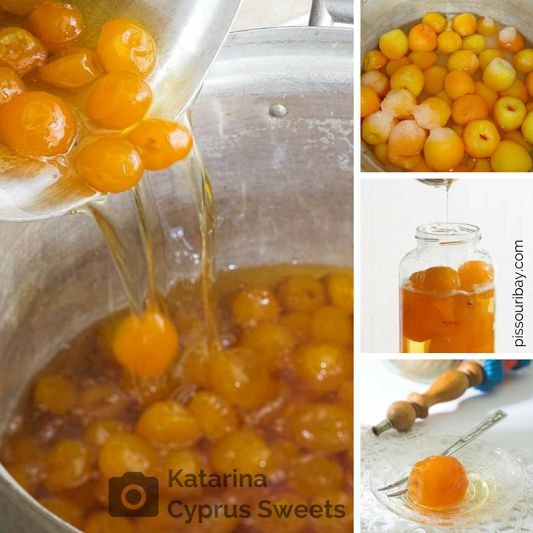 #Apricots galore: How do you preserve yours? #Jam or #SpoonSweets? The June apricot harvest brings the usual dilemma. A lovely Cyprus tradition is the preserving of seasonal fruit and nuts in syrup. These #GlykaTouKoutaliou or #SpoonSweets are an end of dinner coffee-time treat (when you have no room for a bigger dessert), or delicious served with Greek yogurt.  They also make a good holiday souvenir! Photos: #KaterinaCyprusSweets. Post: Nikki at pissouribay.com.
