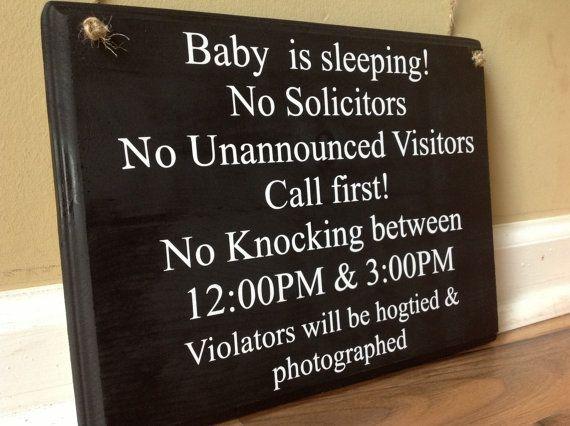 Baby Is Sleeping No Solicitors No Unannounced by GAGirlDesigns