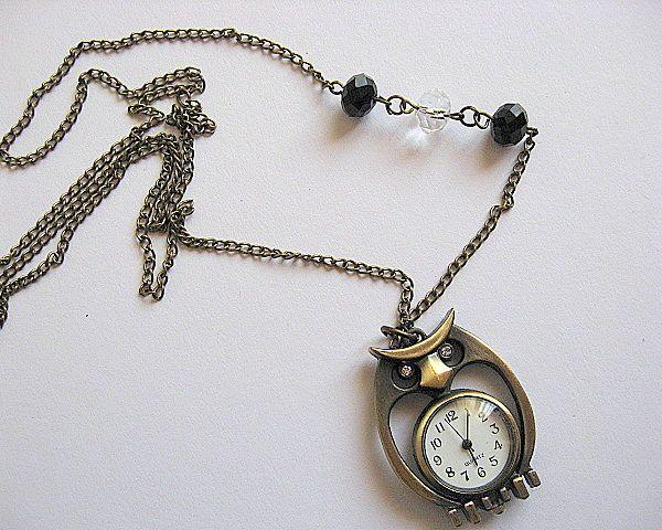 Ceas bronz pasare cu cristale