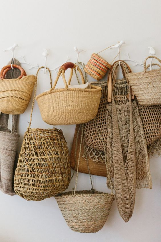 Summer style!! Perfect summer style - a collection of Straw bags to hang on the wall!! Should be required for all summer style homes!!