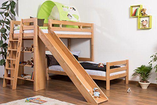 Kinderbett Etagenbett Pauli Buche Vollholz massiv natur mit Regal und Rutsche inkl. Rollrost - 90 x 200 cm, http://www.amazon.de/dp/B01B4JIQJM/ref=cm_sw_r_pi_awdl_xs_qbp4zb89SZ9VP