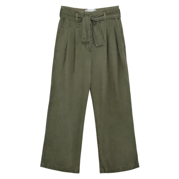 Grange Trousers Olive (12,105 INR) ❤ liked on Polyvore featuring pants, cropped pants, wide leg pants, military green pants, cropped trousers and olive trousers