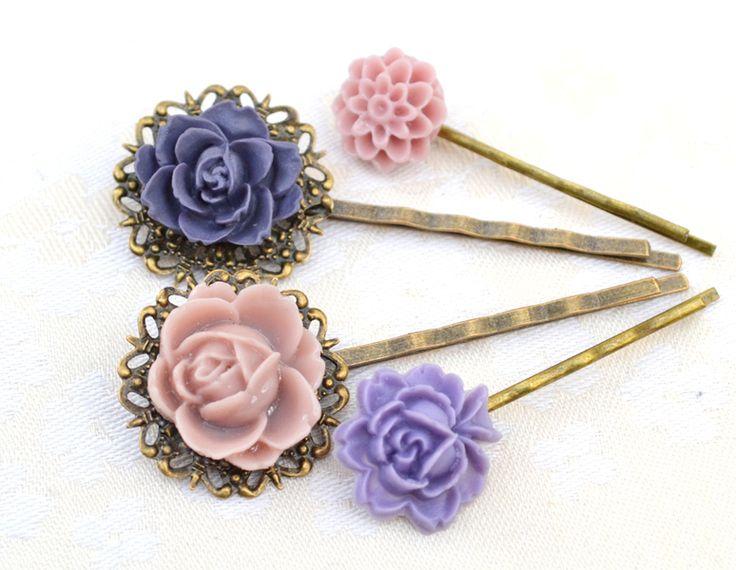 Viola lilla fiore resina capelli forcine set rosa di artemisartbiju su DaWanda.com