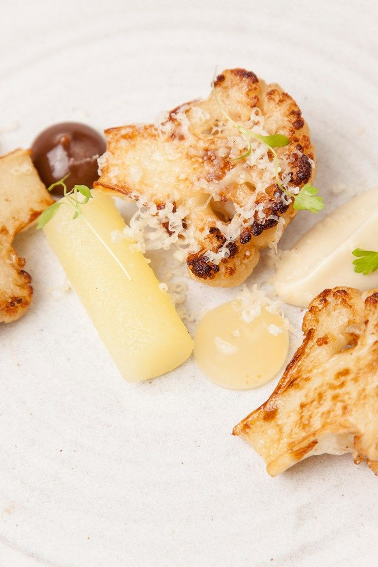 An elegant vegetarian starter recipe from chef Nigel Mendham, this dish showcases the flavours of a cauliflower cheese recipe but adds sophistication with an apple jelly and raisin purée.