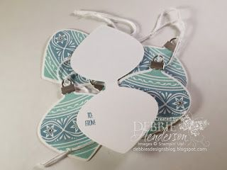 Learn how to create this 3D Ornament using Stampin' Up! using the Embellished Ornaments stamp set and the Delicate Ornaments Thinlits Dies.YouTube Video and FREE PDF sheet for creating the tags you see here. Debbie Henderson, Debbie's Designs.