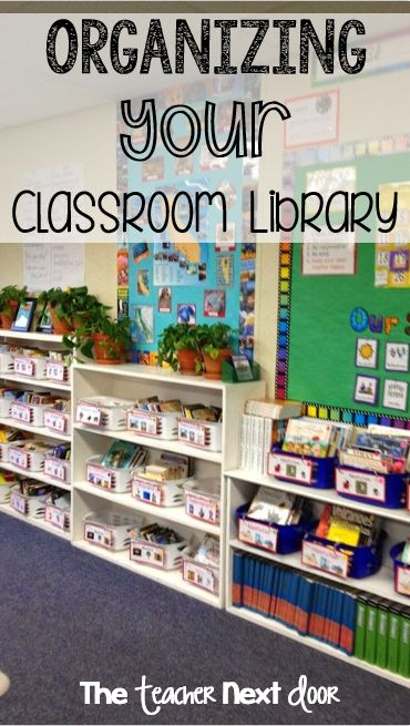 How to organize your library. Books are in baskets by genres, white baskets are fiction and blue baskets are nonfiction. Lot of ideas here to help you get your classroom library neat and well-organized.