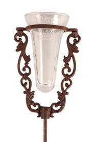 Leszúrható csapadékmérő üveg antik barna öntöttvas állványban. Mérete: magasság: 133 cm, szélesség: 18 cm, mélység: 12 cmSúlya: 2,5 kg