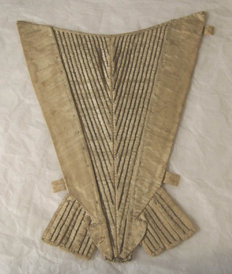White corded silk, embroidered in metal thread; backed with white silk. V-shaped, in two sections with central seam,concave top. 1750-1780