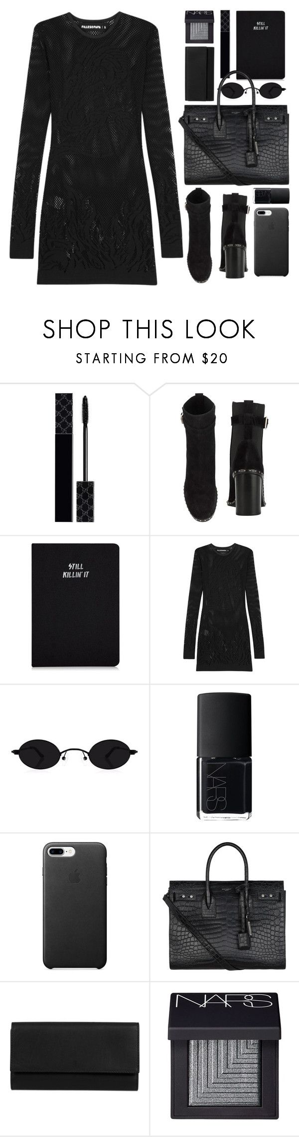"""""""blackest black"""" by foundlostme ❤ liked on Polyvore featuring Gucci, rag & bone, Filles à papa, NARS Cosmetics, Yves Saint Laurent, Gérard Darel and allblack"""